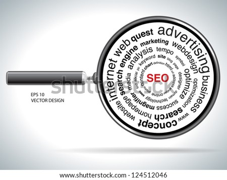 red SEO and Magnifying glass over white