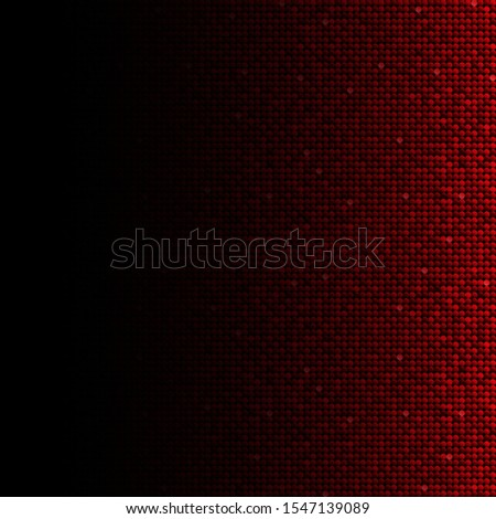 Red sequins, glitters, sparkles, paillettes, mosaic background template. Abstract luxury halftone vector creative backdrop. Red rounds with gradient trendy. Vibrant shiny dots glitter texture.