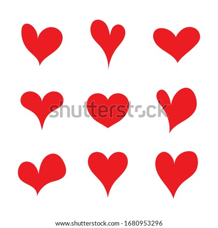 Red set heart shapes. Flat heart symbol. Sticker Valentine day and heart icon. Various asymmetrical silhouettes. Collection for passion, love, tattoo, cartoon, wedding. Graphic sign of like. Vector. Zdjęcia stock ©