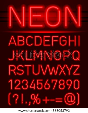 Red set neon font and symbols isolated on black #368053793