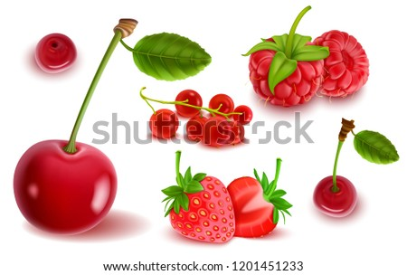 red set of fruits and berries