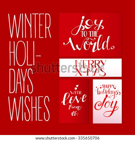 Red set with xmas greetings holidays vector lettering hand drawn red set with xmas greetings holidays vector lettering hand drawn text illustration for banners m4hsunfo