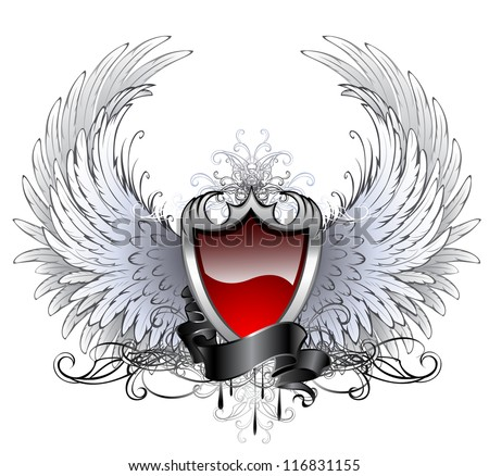 red shield with a silver stylized angel wings and dark ribbon on a white background.