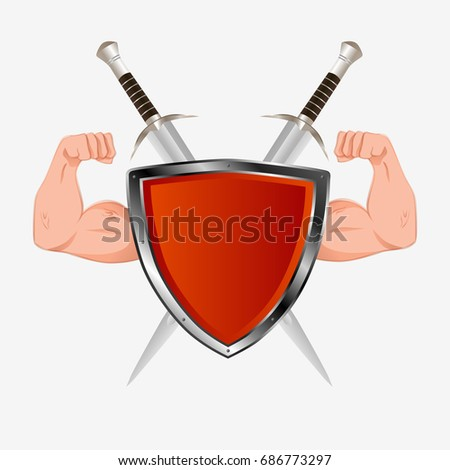 red shield with arms and two