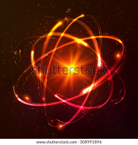 Red shining cosmic vector atom model