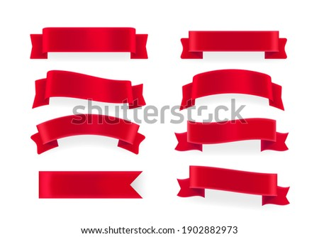 Red shining vector banners. Elements isolated on white background