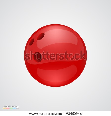 Red shiny and clean bawling ball. Vector illustration.
