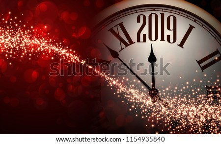 Red shiny bokeh 2019 New Year background with round clock. Beautiful Christmas greeting card or decoration template. Vector illustration.