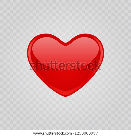 Red shiny heart shape Isolated on transparent background. Easy replace backdrop. Vector Design element.