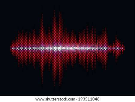 red shiny sound waveform with