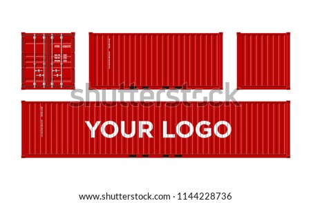 Red Shipping Cargo Container for Logistics and Transportation Isolated On White Background Vector Illustration Easy To Change