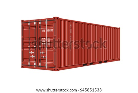 Red Shipping Cargo Container for Logistics and Transportation on White Background
