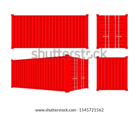 Red Shipping Cargo Container Twenty and Forty feet. for Logistics and Transportation. Vector stock Illustration.