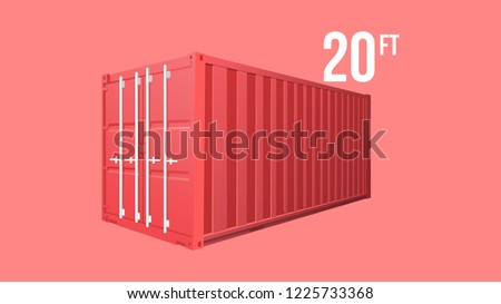Red Shipping Cargo standard cargo 10 feet Container for Logistics and Transportation Isolated On White Background Vector Illustration Easy To Change