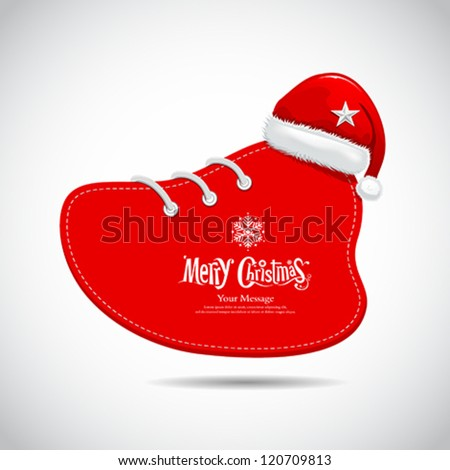 Red Shoes and hat paper red card of merry Christmas design, vector illustration