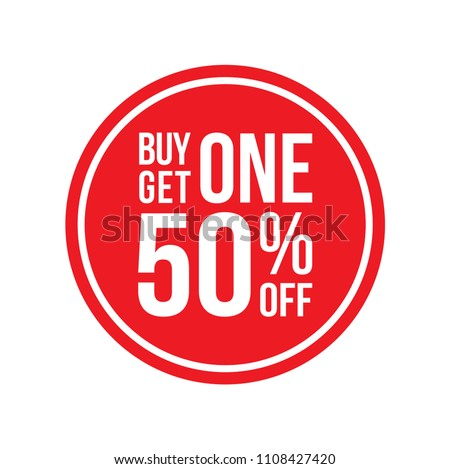 Red Shop Vector Sign For A Buy One Get One 50% Off Clearance Circular Round