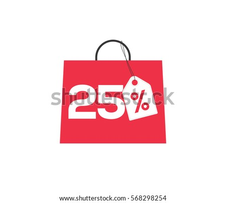 Red shopping bag with 25% on it, with a white price tag label isolated on white background.