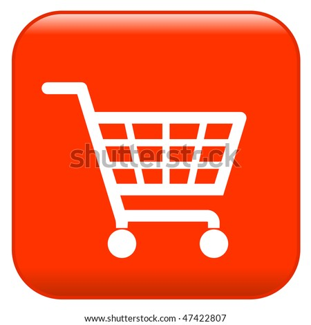 Red shopping basket sign - stock vector