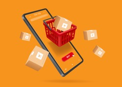 Red shopping baskets and parcel box with cart image on box float in the air above a smartphone for online shopping concept design,vector 3d isolated on orange background,template online shopping
