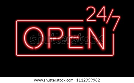 red sign open 24 7 hours neon