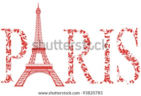 Red Sign Paris As Vintage Floral Pattern With Eiffel Tower