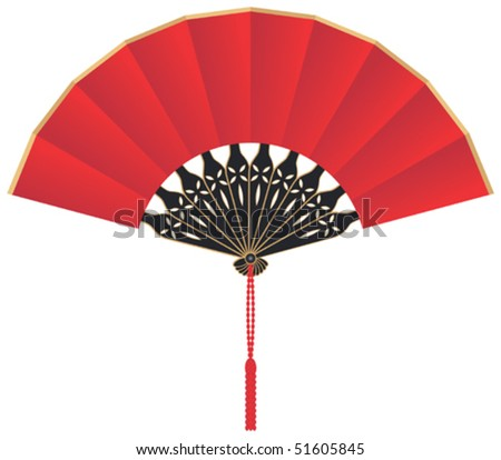 Chinese Fan Outline Silk Chinese Fan Vector