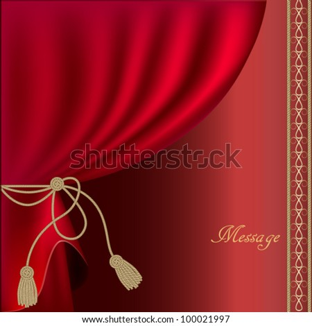 red silk curtain with tassels