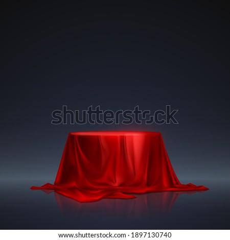 Red silk podium on dark background Photo stock ©