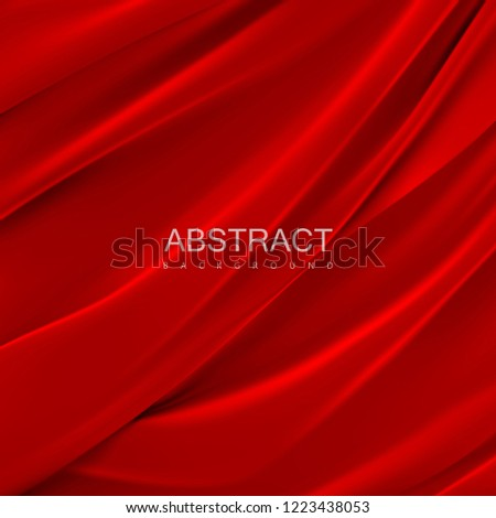 Red silky fabric. Abstract background. Vector illustration. Realistic textile with folds and drapes. Decoration element for design