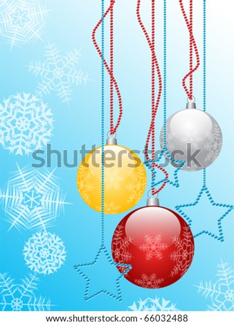 red, silver, gold, christmas globes decorated with snowflake and stars