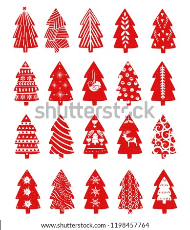 red simple christmas fir tree