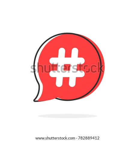 red simple thin line hashtag icon. flat contour trendy logotype graphic art design illustration isolated on white background. concept of popular message for microblogging or advertising emblem