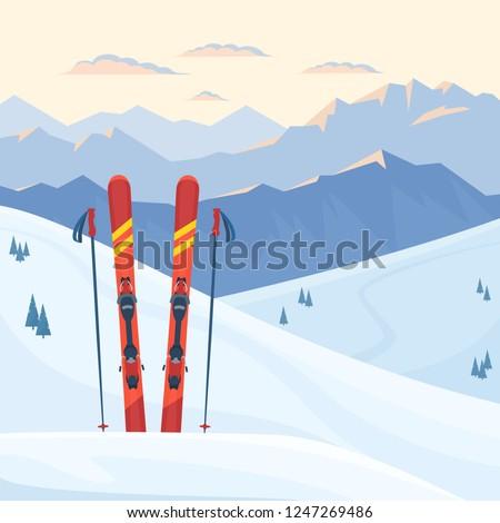 red ski equipment at the ski