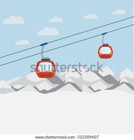 Red ski Lift Gondolas moving in Snow Mountains