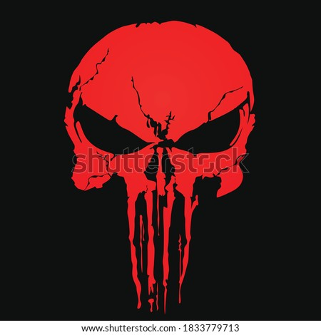 red skull and Bones icon the punisher. Element of crime and punishment illustration with red background, T-Shirt graphics design famous, vector design icon