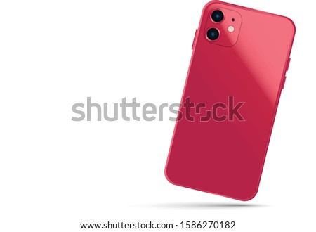 Red Smartphone with shadow isolated on white background. Phone template for business presentation.