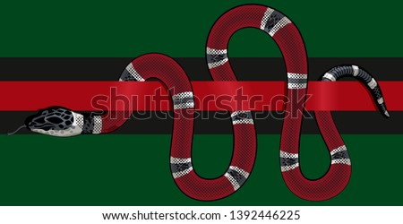 red snake vector.  Lampropeltis triangulum vector.  Sticker and hand drawn snake for tattoo.
