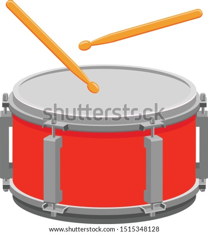 Red snare drum with two drum sticks vector