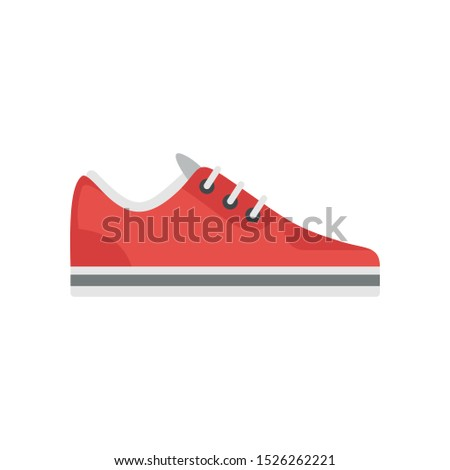 Red sneaker icon. Flat illustration of red sneaker vector icon for web design