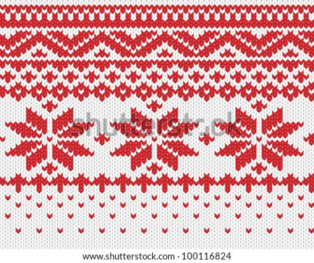 Red snowflake seamless knitted background. EPS 8 vector illustration.
