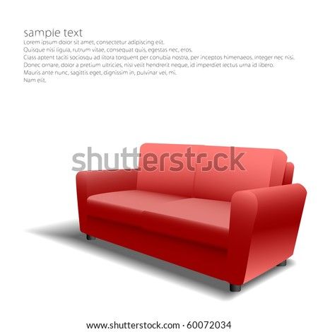 Red sofa design in eps10