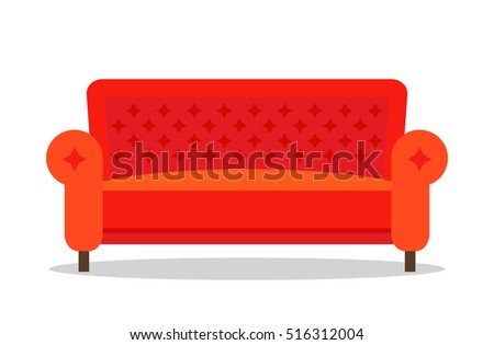 red sofa in the cartoon style