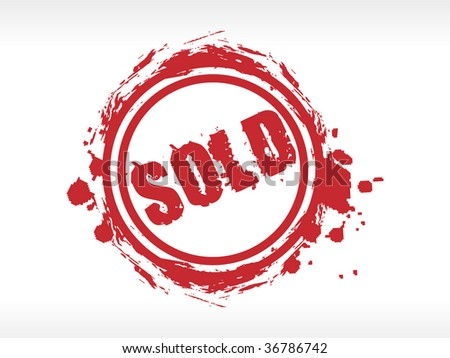 red sold stamp on white background. Grunge vector illustration