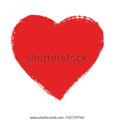 Red speech bubble, hand drawn heart element. Vector background.