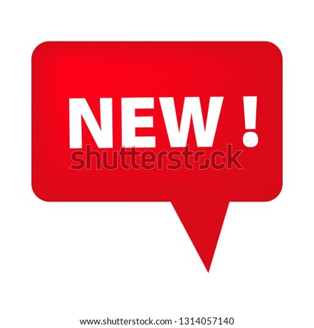 Red speech bubble with New tag on white background. Novelty, fresh, new arrival. Sale banner concept. Vector illustration can be used for stickers, leaflets, posters
