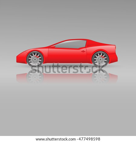 red sport car  grey background