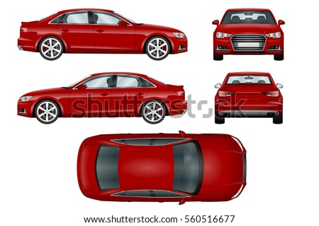 red sport car vector template