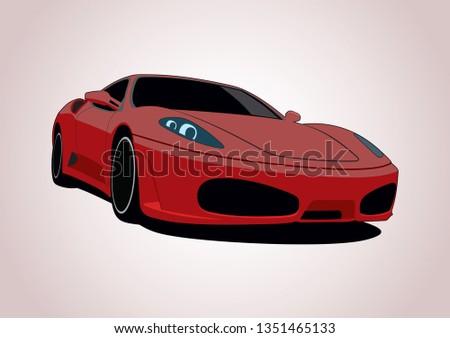 red sports car. Ferrari F430.