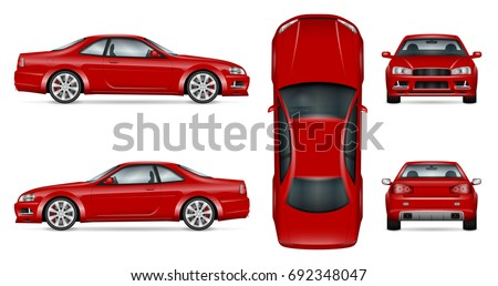 red sports car vector mock up