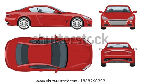 red sports car vector template